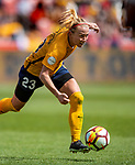 Utah Royals FC midfielder Gunnhildur Jonsdottir (23) moves the ball in the second half Saturday, April 14, 2018, during the National Woman Soccer League game at Rio Tiinto Stadium in Sandy, Utah. (© 2018 Douglas C. Pizac)