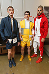 Models pose in outfits from the T Squared collection by Trey Pasquariello, during the New York School of Design Spring Summer 2018 fashion show presentation at Calligaris on 55 Thompson Street on September 7, 2017 during New York Fashion Week.