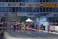 Apr. 28, 2013; Baytown, TX, USA: NHRA top alcohol dragster driver Forrest Fair (right) alongside Brandon Pierce during the Spring Nationals at Royal Purple Raceway. Mandatory Credit: Mark J. Rebilas-
