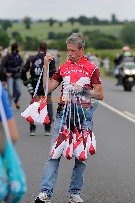 Katusha soigneur waits for his riders pass through the feed zone at La Hargriniere during Stage 3 of the 2016 Tour de France, running 223.5km from Granville to Angers, France . 4th July 2016.<br /> Picture: Eoin Clarke | Newsfile<br /> <br /> <br /> All photos usage must carry mandatory copyright credit (&copy; Newsfile | Eoin Clarke)