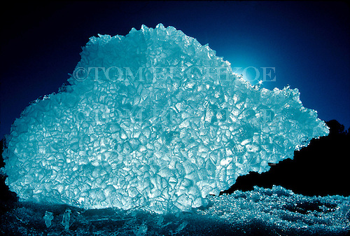 Backlit ice formation along the shore of Lake Superior
