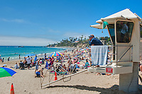 Laguna Beach Lifeguard on Watch in Tower, seaside resort, artist community, located in southern, Orange County, California, United States