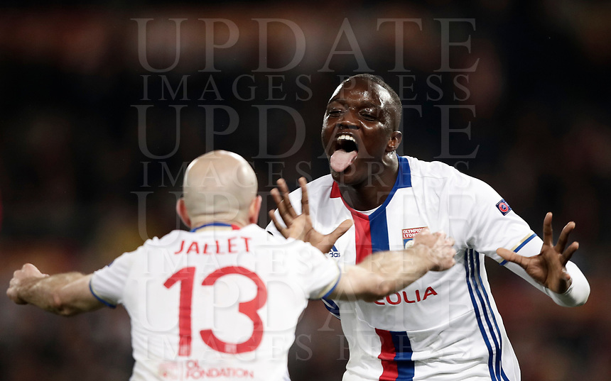Football Soccer: Europa League Round of 16 second leg, Roma-Lyon, stadio Olimpico, Roma, Italy, March 16,  2017. <br /> Lyon's Mounter Diakhaby (r) celebrates after scoring with his teammate Christophe Jallet (l) during the Europe League football soccer match between Roma and Lyon at the Olympique stadium, March 16,  2017. <br /> Despite losing 2-1, Lyon reach the quarter finals for 5-4 aggregate win.<br /> UPDATE IMAGES PRESS/Isabella Bonotto
