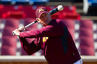 Minnesota Golden Gophers assistant coach Rob Fornasiere hits fungos prior to the game against the Towson Tigers at Gene Hooks Field on February 26, 2011 in Winston-Salem, North Carolina.  The Gophers defeated the Tigers 6-4.  Photo by Brian Westerholt / Sports On Film