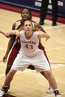19 March 2007: Kristen Newlin boxes out during Stanford's 68-61 second round loss to Florida State in the 2007 NCAA Division I Women's Basketball Championships at Maples Pavilion in Stanford, CA.