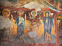 Twelfth century Romanesque frescoes of the Apse of Ginestarre depicting, from right to left, The Virgin Mary, Peter and the Apostles, from the church of Santa Maria de Ginestarre, Catalonia, Spain. National Art Museum of Catalonia, Barcelona. MNAC 15971