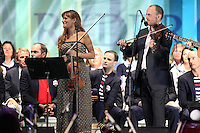 Nicola Benedetti on stage at the Closing Ceremony after Sunday's Singles Matches of the 39th Ryder Cup at Medinah Country Club, Chicago, Illinois 30th September 2012 (Photo Colum Watts/www.golffile.ie)
