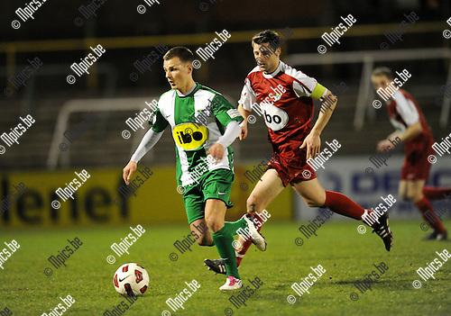 2011-03-12 / Voetball / seizoen 2010-2011 / RC Mechelen - Verbr. Meldert / Thomas Weydisch (RCM) probeert zijn bewaker af te schudden..Foto: Mpics