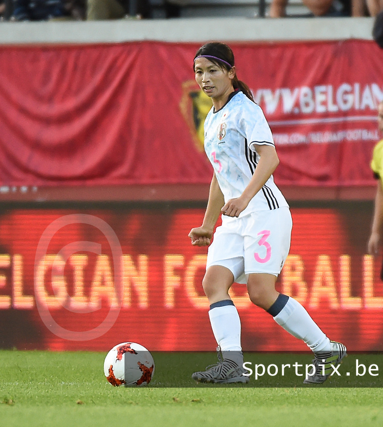 20170613 - LEUVEN ,  BELGIUM : Japanese Aya Sameshima pictured during the female soccer game between the Belgian Red Flames and Japan , a friendly game before the European Championship in The Netherlands 2017  , Tuesday 13 th Juin 2017 at Stadion Den Dreef  in Leuven , Belgium. PHOTO SPORTPIX.BE | DIRK VUYLSTEKE