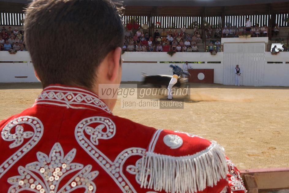Europe/France/Aquitaine/40/Landes/ Vielle-Tursan:  lors de la course landaise organisée pour la fête du village // France, Landes, Vielle Tursan,  during a bullfight at the Fete Village Festival