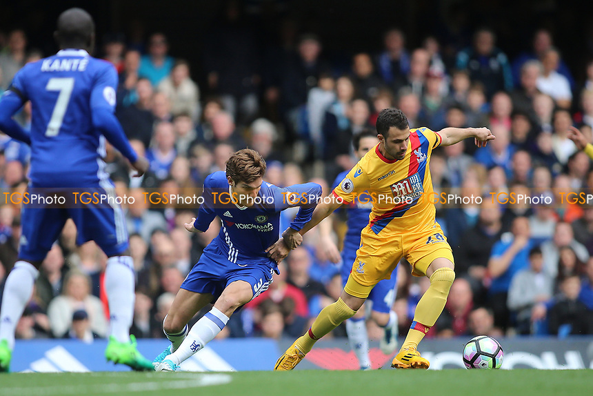Marcos Alonso of Chelsea and Luka Milivojevic of Crystal Palace during Chelsea vs Crystal Palace, Premier League Football at Stamford Bridge on 1st April 2017