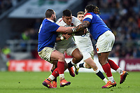 Nathan Hughes of England takes on the France defence. Guinness Six Nations match between England and France on February 10, 2019 at Twickenham Stadium in London, England. Photo by: Patrick Khachfe / Onside Images