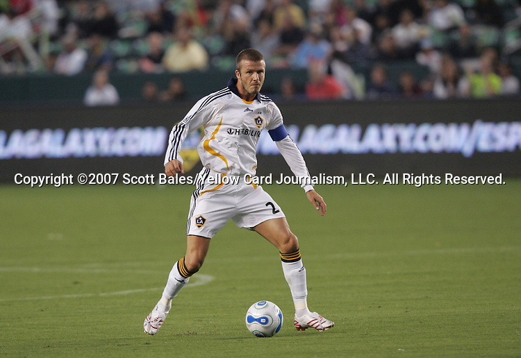 23 August 2007: Los Angeles' David Beckham (ENG). The Los Angeles Galaxy played Club Deportivo Chivas in a Major League Soccer regular season match at the Home Depot Center in Carson, CA.