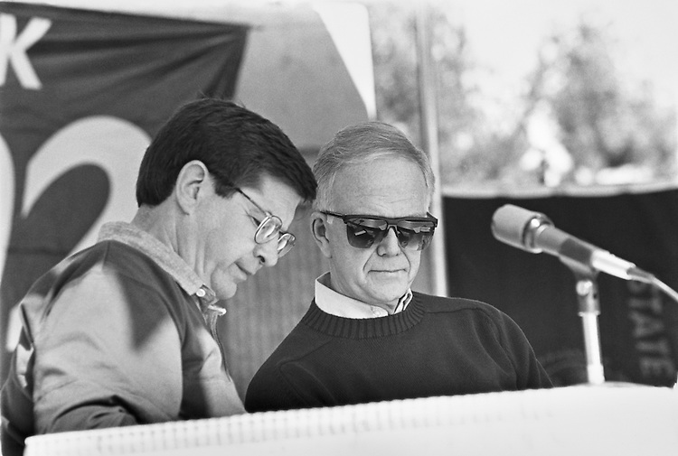 "Candidate Tony Meeker & Sen. Bob Packwood, R-Ore., before speaking at a ""United we stand"" rally in Beaverton, Oregon. October 13, 1992 (Photo by Laura Patterson/CQ Roll Call)"