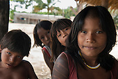 Aldeia Baú, Para State, Brazil. Group of Kayapo children.