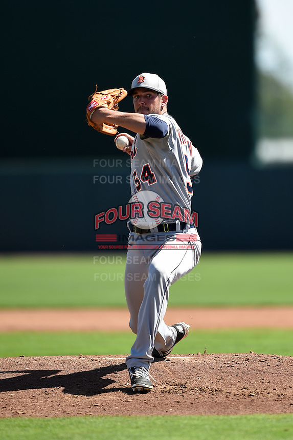 Detroit Tigers pitcher Drew VerHagen (54) during a Spring Training game against the Baltimore Orioles on March 4, 2015 at Ed Smith Stadium in Sarasota, Florida.  Detroit defeated Baltimore 5-4.  (Mike Janes/Four Seam Images)