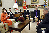 United States House Minority Leader Nancy Pelosi (Democrat of California) speaks during a meeting between US President Donald J. Trump and bipartisan Congressional leadership in the Oval Office of the White House , December 7, 2017 in Washington, DC.  From left to right Leader Pelosi, Speaker of the US House Paul Ryan (Republican of Wisconsin) US Vice President Mike Pence, President Trump, US Senate Minority Leader Chuck Schumer (Democrat of New York).<br /> Credit: Olivier Douliery / Pool via CNP