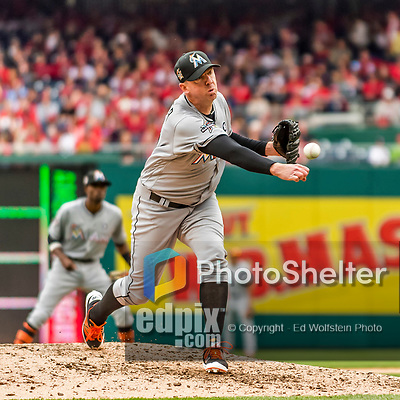 3 April 2017: Miami Marlins pitcher Brad Ziegler on the mound during the Opening Day game against the Washington Nationals at Nationals Park in Washington, DC. The Nationals defeated the Marlins 4-2 to open the 2017 MLB Season. Mandatory Credit: Ed Wolfstein Photo *** RAW (NEF) Image File Available ***