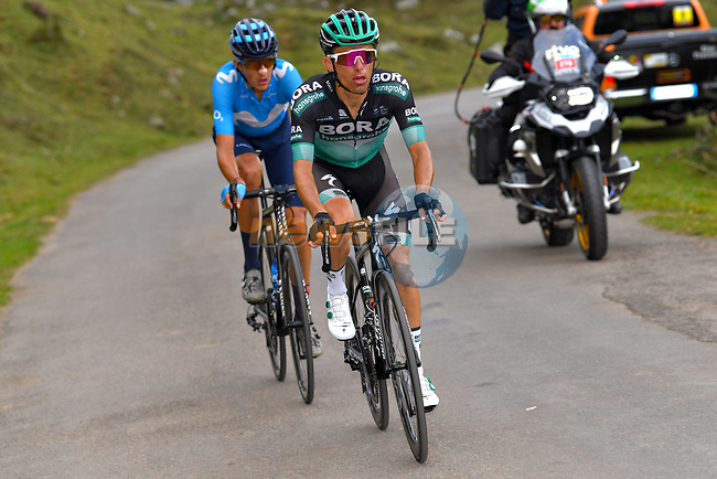 Rafal Majka (POL) Bora-Hansgrohe and Marc Soler (ESP) Movistar Team climb during Stage 16 of La Vuelta 2019 running 144.4km from Pravia to Alto de La Cubilla, Spain. 9th September 2019.<br /> Picture: Luis Angel Gomez/BettiniPhoto | Cyclefile<br /> <br /> All photos usage must carry mandatory copyright credit (© Cyclefile | Luis Angel Gomez/BettiniPhoto)