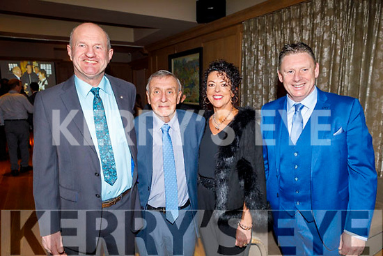 Paddy Townes (Valentia), Donnie Leary (Rathmore), Maria Sheehan (Brosna) and Jimmy Keane (Brosna) enjoying the Kerry Supporters Social in the Ballygarry House Hotel on Saturday.