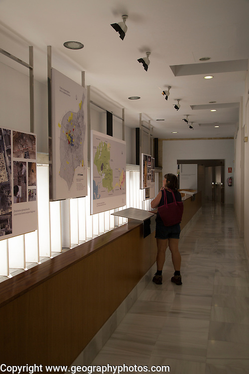 Female tourist inside archaeology museum, Jerez de la Frontera, Cadiz Province, Spain