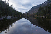 Greeley Ponds Scenic Area - Upper Greeley Pond in the White Mountains, New Hampshire USA on a cloudy autumn day.