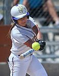 Western Nevada's Lindsey Ashbaugh hits in a college softball game against North Idaho College at Edmonds Sports Complex, in Carson City, Nev., on Friday, April 18, 2014.<br /> Photo by Cathleen Allison/Nevada Photo Source
