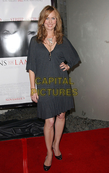 """MELORA HARDIN.""""Lions For Lambs"""" 2007 AFI Festival Opening Night Gala held at the ArcLight Hollywood Cinemas, Hollywood, California, USA, 01 November, 2007..full length grey dress hand on hip.CAP/ADM/RE.©Russ Elliot/AdMedia/Capital Pictures."""