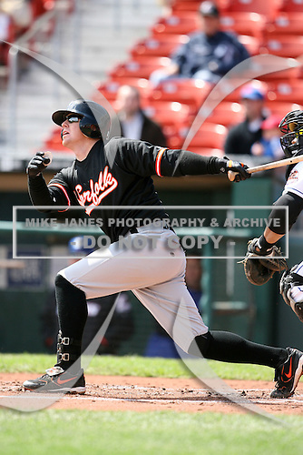 May 9, 2009:  Second Baseman Justin Turner of the Norfolk Tides, International League Class-AAA affiliate of the Baltimore Orioles, at bat during a game at Coca-Cola Field in Buffalo, FL.  Photo by:  Mike Janes/Four Seam Images