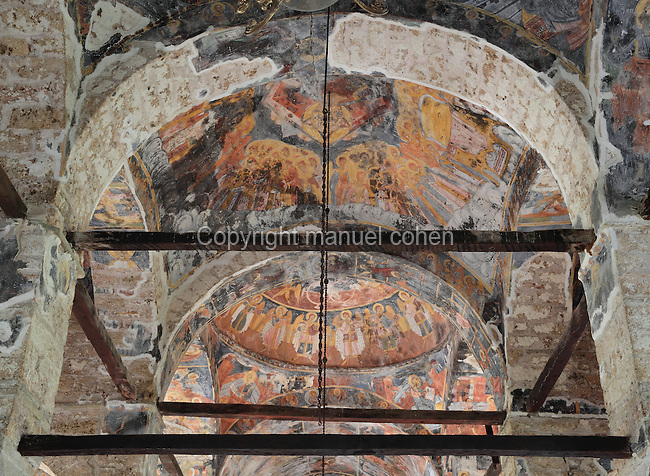 Ceiling frescoes of the Dormition of Saint Mary Cathedral Church, or Kisha Katedrale Fjetja e Shen Marise, built 1699, Voskopoje, Korce, Albania. The church contains frescoes by Theodor Anagnost and Sterian from Agrapha in Greece, and the large icons in the iconostasis were painted 1703 by Constantine Lemoronachos. Picture by Manuel Cohen