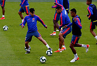 BOGOTA, COLOMBIA - JUNE 6: Colombia's national team soccer players Falcao Garcia (L), Edwin Cardona (c) and William Tesillo (R), attend a training session on June 5, 2019 in Bogota, Colombia. Colombia will face Peru on Sunday before they start their Copa America campaign where the team will face Argentina, Paraguay and Qatar on their first stage of the Copa America Brazil 2019. (Photo by VIEWPRESS/Leonardo Muñoz)
