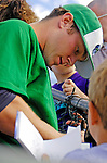 30 June 2007: Vermont Lake Monsters pitcher Caleb Staudt  signs autographs prior to a game against the Lowell Spinners at Historic Centennial Field in Burlington, Vermont. The Spinners defeated the Lake Monsters 8-4 in the last game of their 3-game NY Penn-League series...Mandatory Photo Credit: Ed Wolfstein Photo