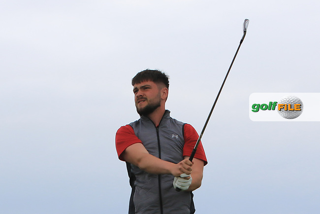 Niall Hearns (Mountrath) on the 1st tee during Round 2 of the North of Ireland Amateur Open Championship 2019 at Portstewart Golf Club, Portstewart, Co. Antrim on Tuesday 9th July 2019.<br /> Picture:  Thos Caffrey / Golffile<br /> <br /> All photos usage must carry mandatory copyright credit (© Golffile   Thos Caffrey)