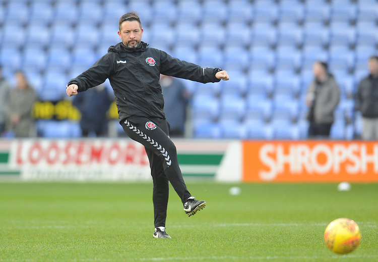 Fleetwood Town First Team Coach Barry Nicholson during the pre-match warm-up <br /> <br /> Photographer Kevin Barnes/CameraSport<br /> <br /> The EFL Sky Bet League One - Shrewsbury Town v Fleetwood Town - Tuesday 1st January 2019 - New Meadow - Shrewsbury<br /> <br /> World Copyright © 2019 CameraSport. All rights reserved. 43 Linden Ave. Countesthorpe. Leicester. England. LE8 5PG - Tel: +44 (0) 116 277 4147 - admin@camerasport.com - www.camerasport.com