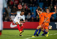 Chris Willock (Benfica) of England U20 has a shot at goal during the International friendly match between England U20 and Netherlands U20 at New Bucks Head, Telford, England on 31 August 2017. Photo by Andy Rowland.