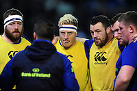 Leinster forwards huddle together during the pre-match warm-up. European Rugby Champions Cup match, between Northampton Saints and Leinster Rugby on December 9, 2016 at Franklin's Gardens in Northampton, England. Photo by: Patrick Khachfe / JMP