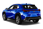 Car pictures of rear three quarter view of a 2019 Lexus UX F-Sport  5 Door SUV angular rear