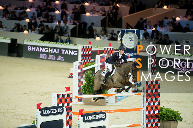 Daniel Deusser on Hidalgo V competes during the Table A with Jump-off 145 - Airbus Trophy at the Longines Masters of Hong Kong on 20 February 2016 at the Asia World Expo in Hong Kong, China. Photo by Li Man Yuen / Power Sport Images