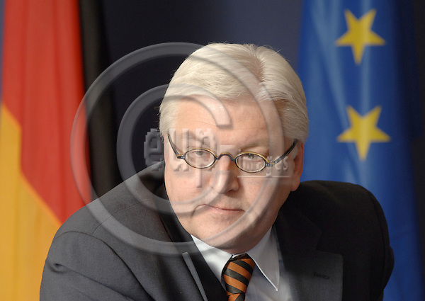 Brussels-Belgium - 27 February 2006---Frank-Walter STEINMEIER, Minister for Foreign Affairs of Germany, during a press briefing in the EU-Council---Photo: Horst Wagner/eup-images