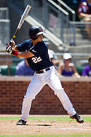 Shortstop Jake Overbey #22 of the Ole Miss Rebels at bat during the NCAA Regional baseball game against the Texas Christian University Horned Frogs on June 1, 2012 at Blue Bell Park in College Station, Texas. Ole Miss defeated TCU 6-2. (Andrew Woolley/Four Seam Images).