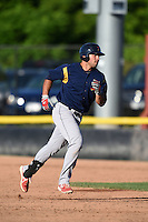 State College Spikes first baseman Alex De Leon (34) runs the bases after hitting his third home run of the game against the Batavia Muckdogs on June 22, 2014 at Dwyer Stadium in Batavia, New York.  State College defeated Batavia 10-3.  (Mike Janes/Four Seam Images)