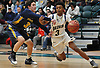 Rhyjon Blackwell #3 of Baldwin, right, gets pressured by David Letzter #3 of Massapequa during the Nassau County varsity boys basketball Class AA semifinals at Farmingdale State College on Monday, Feb. 26, 2018. Blackwell scored a team-high 19 points to lead Baldwin to a 50-41 win.