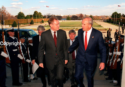 Nov. 20, 2001, Washington, DC, United States<br /> <br /> Canadian Minister of Defense Arthur Eggleton (left) is escorted by Secretary of the Army Thomas White through an honor cordon and into the Pentagon on Nov. 20, 2001, for a meeting with Secretary of Defense Donald Rumsfeld.  Eggleton, White and Rumsfeld will meet to discuss a range of bilateral security issues and the war on terrorism<br /> .<br /> <br /> Mandatory Credit: Photo by DoD photo by R. D. Ward. (Released)-