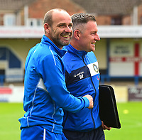 Lincoln City's academy manager Damian Froggatt with Gainsborough Trinity's Manager Dave Frecklington<br /> <br /> Photographer Andrew Vaughan/CameraSport<br /> <br /> Pre-Season Friendly - Gainsborough Trinity v Lincoln City - Saturday 15th July 2017 - The Gainsborough Martin &amp; Co Arena - Gainsborough<br /> <br /> World Copyright &copy; 2017 CameraSport. All rights reserved. 43 Linden Ave. Countesthorpe. Leicester. England. LE8 5PG - Tel: +44 (0) 116 277 4147 - admin@camerasport.com - www.camerasport.com
