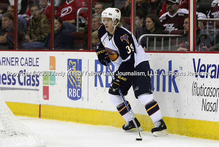 09 November 2008: Atlanta's Tobias Enstrom (SWE). The Atlanta Thrashers defeated the Carolina Hurricanes 5-2 at the RBC Center in Raleigh, NC in a 2008-09 National Hockey League regular season game.