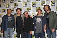 SAN DIEGO - July 23:  Jared Padalecki, Robert Singer, Jensen Ackles, Misha Collins, Andrew Dabb at Comic-Con Sunday 2017 at the Comic-Con International Convention on July 23, 2017 in San Diego, CA