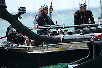25 July 2015: Jimmy Spithill, skipper Oracle Team USA, looks relaxed after the first race of the America's Cup first round racing off Portsmouth, England (Photo by Rob Munro)