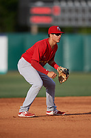Palm Beach Cardinals third baseman Evan Mendoza (4) during a game against the Florida Fire Frogs on May 1, 2018 at Osceola County Stadium in Kissimmee, Florida.  Florida defeated Palm Beach 3-2.  (Mike Janes/Four Seam Images)