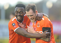 Blackpool's Harry Pritchard (right) celebrates scoring his side's third goal with team-mate Joe Dodoo<br /> <br /> Photographer Kevin Barnes/CameraSport<br /> <br /> Emirates FA Cup First Round - Exeter City v Blackpool - Saturday 10th November 2018 - St James Park - Exeter<br />  <br /> World Copyright &copy; 2018 CameraSport. All rights reserved. 43 Linden Ave. Countesthorpe. Leicester. England. LE8 5PG - Tel: +44 (0) 116 277 4147 - admin@camerasport.com - www.camerasport.com