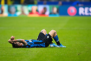 MILAN, ITALY - DECEMBER 10: Player of Inter lays down during the UEFA Champions League group F match between Inter and FC Barcelona at Giuseppe Meazza Stadium on December 10, 2019 in Milan, Italy. (Photo by David Lidström Hultén/LPNA) ***BETALBILD***